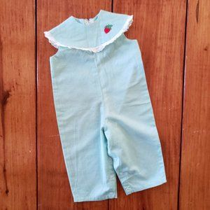 VTG Green Gingham Baby Girl's Romper Jumpsuit 12M